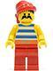 Minifig No: pi076  Name: Pirate Blue / White Stripes Shirt, Red Legs, Red Bandana
