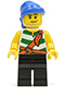 Minifig No: pi096  Name: Pirate Green / White Stripes, Black Legs, Blue Bandana, Smirk and Stubble Beard