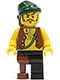 Minifig No: pi110  Name: Pirate Vest and Anchor Tattoo, Black Leg and Peg Leg, Dark Green Bandana, Brown Moustache