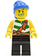 Minifig No: pi131  Name: Pirate Green / White Stripes, Black Legs, Blue Bandana, White Teeth with Gold Tooth
