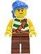 Minifig No: pi133  Name: Pirate Green / White Stripes, Reddish Brown Legs, Blue Bandana