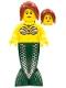 Minifig No: pi139  Name: Mermaid - Dark Red Hair Ponytail Long with Side Bangs (9349)