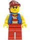Minifig No: pi145  Name: Pirate Blue Vest, Red Legs, Dark Red Bandana, Bushy Eyebrows