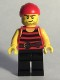 Minifig No: pi167  Name: Pirate 6 - Black and Red Stripes, Black Legs, Scar