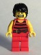 Minifig No: pi168  Name: Pirate 7 - Black and Red Stripes, Red Legs, Scared, Black Crow's Feet