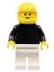 Minifig No: pln114  Name: Plain Black Torso with Black Arms, White Legs, Yellow Helmet