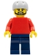 Minifig No: pln175a  Name: Plain Red Torso with Red Arms, Dark Blue Legs, Sports Helmet and Black Beard