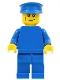Minifig No: pln178  Name: Plain Blue Torso with Blue Arms, Blue Legs, Blue Hat