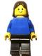 Minifig No: pln179  Name: Plain Blue Torso with Blue Arms, Black Legs, Brown Female Hair