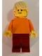 Minifig No: pln183  Name: Plain Orange Torso with Orange Arms, Dark Red Legs, Tan Tousled Hair