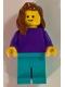 Minifig No: pln184  Name: Plain Dark Purple Torso with Dark Purple Arms, Medium Azure Legs, Reddish Brown Female Hair over Shoulder