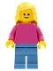 Minifig No: pln185  Name: Plain Dark Pink Torso with Dark Pink Arms, Medium Blue Legs, Bright Light Yellow Female Hair Mid-Length