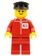 Minifig No: post005  Name: Post Office - Red Legs, Black Hat