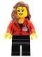Minifig No: sc011  Name: Press Woman / Reporter - Black Legs, Reddish Brown Female Hair over Shoulder