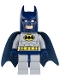 Minifig No: sh025  Name: Batman - Light Bluish Gray Suit with Yellow Belt and Crest, Dark Blue Mask and Cape