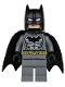 Minifig No: sh151  Name: Batman - Dark Bluish Gray Suit, Gold Belt, Black Hands, Spongy Cape (76026)