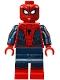 Minifig No: sh299  Name: Spider-Man - Black Web Pattern, Red Torso Large Vest, Red Boots