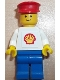 Minifig No: shell001b  Name: Shell - Classic - Blue Legs, Red Hat (Torso with Squared Sticker)