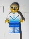 Minifig No: soc106  Name: Soccer Player White & Blue Team with shirt  #5