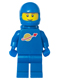 Minifig No: sp004new2  Name: Classic Space - Blue with Airtanks and Modern Helmet, Brown Eyebrows, Thin Grin (Reissue)