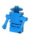 Minifig No: sp070  Name: Classic Space Droid - Hinge Base, Blue with Trans-Blue Dish