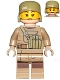 Minifig No: sw0853  Name: Resistance Trooper (Female) - Dark Tan Hoodie Jacket, Ammo Pouch, Helmet without Chin Guard