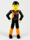 Minifig No: tech027  Name: Technic Figure Orange/Black Legs, Orange Torso with Silver Pattern, Black Arms, Black Hair