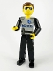 Minifig No: tech029  Name: Technic Figure Black Legs, Light Gray Top with Police Pattern, Black Arms