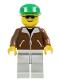 Minifig No: trn107  Name: Jacket Brown - Light Gray Legs, Green Cap, Black Sunglasses