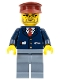 Minifig No: trn138  Name: Dark Blue Suit with Train Logo, Sand Blue Legs, Dark Red Hat - Conductor