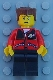 Minifig No: trn140  Name: Red Jacket with Zipper Pockets and Classic Space Logo, Black Legs, Reddish Brown Flat Top Hair