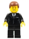 Minifig No: trn142  Name: Suit Black, Reddish Brown Male Hair, Thin Grin with Teeth
