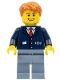 Minifig No: trn146  Name: Dark Blue Suit with Train Logo, Sand Blue Legs, Dark Orange Hair - Conductor