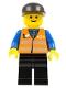 Minifig No: trn147  Name: Orange Vest with Safety Stripes - Black Legs, Black Cap