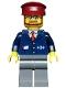 Minifig No: trn148  Name: Dark Blue Suit with Train Logo, Dark Bluish Gray Legs, Dark Red Hat, Beard and Glasses