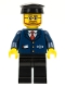 Minifig No: trn223  Name: Dark Blue Suit with Train Logo, Black Legs, Black Hat, Beard and Glasses
