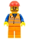 Minifig No: trn224  Name: Orange Vest with Safety Stripes - Orange Legs, Red Construction Helmet, Beard and Glasses