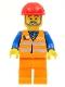 Minifig No: trn229  Name: Orange Vest with Safety Stripes - Orange Legs, Red Construction Helmet, Gray Beard