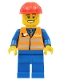 Minifig No: trn232  Name: Orange Vest with Safety Stripes - Blue Legs, Cheek Lines and Wide Grin, Red Construction Helmet