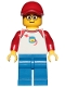 Minifig No: trn247  Name: Man - Classic Space Shirt with Red Sleeves, Blue Legs, Red Cap