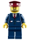 Minifig No: trn248  Name: Dark Blue Suit with Train Logo, Dark Blue Legs, Dark Red Hat, Gray Beard