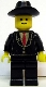 Minifig No: twn019s  Name: Patron - Black Suit with Two Buttons and Red Tie (Torso Sticker), Black Legs, Black Cowboy Hat