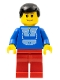 Minifig No: twn037  Name: Jogging Suit, Red Legs, Black Male Hair, Wide Smile and Eyebrows