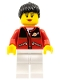 Minifig No: twn056a  Name: Red Jacket with Zipper Pockets and Classic Space Logo, White Legs, Black Female Ponytail Hair, Black Eyebrows