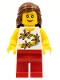 Minifig No: twn089  Name: Yellow Flowers, Red Legs, Reddish Brown Female Hair Mid-Length