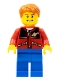 Minifig No: twn097  Name: Red Jacket with Zipper Pockets and Classic Space Logo, Blue Legs, Dark Orange Short Tousled Hair