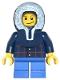 Minifig No: twn125  Name: Plaid Button Shirt, Blue Short Legs, Dark Blue Hood