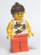 Minifig No: twn126  Name: Yellow Flowers - Reddish Brown Ponytail Hair, Orange Legs
