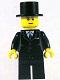 Minifig No: twn133  Name: Suit Black, Top Hat, Black Legs (9349)