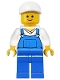 Minifig No: twn138  Name: Overalls Blue over V-Neck Shirt, Blue Legs, White Short Bill Cap